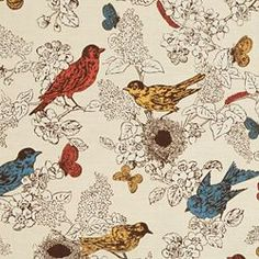 Thomas Paul aviary fabric on a toile-like background at Calico Corners.