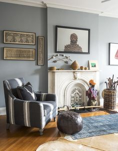 A Jacolby Satterwhite photo hangs above the nonworking fireplace in this bedroom. Living Room Decor, Living Spaces, Living Rooms, Family Rooms, Living Area, New York, Museum, Blue Bedroom, Master Bedroom