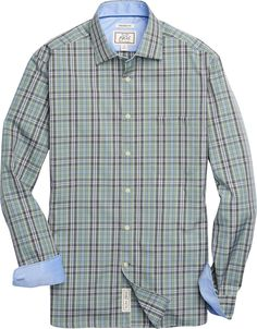 1905 Collection Traditional Fit Spread Collar Plaid Sportshirt - Big & Tall CLEARANCE