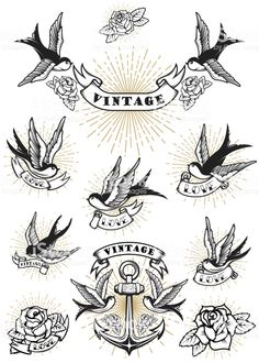 Set Of Swallow Tattoo Vintage Anchor And Roses Design Element Royalty Free Cliparts Vectors And Stock Illustration Image 90503508 Flash Art Tattoos, Retro Tattoos, Traditional Swallow Tattoo, Traditional Tattoo Art, Traditional Diamond Tattoo, Diamond Tattoo Designs, Diamond Tattoos, Vintage Tattoo Design, Tattoo Vintage