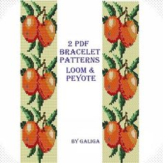 Apple bracelet pattern for Beading instructions Loom bracelet Fruit bracelet Peyote bracelet Apple pattern Fruit pattern Instant download
