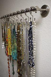 Jewerly Organizer Diy Easy Shower Curtains Super Ideas, - About jewelry organizer diy Diy Necklace Holder, Necklace Storage, Diy Jewelry Holder, Jewellery Storage, Diy Necklace Display, Bracelet Holders, Jewelry Rack, Jewelry Stand, Jewellery Display