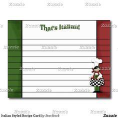 Italian Styled Recipe Card