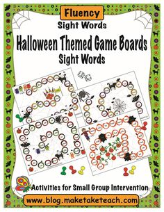 halloween themed game boards for teaching the dolch 220 sight words - Esl Halloween Games