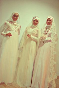 jackets, jewelry, and lace edged veils for these hijabi bridal beauties!