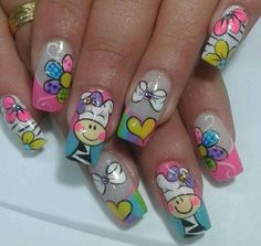 """A Nail art i made for a Nail Storming battle around the theme """"Candy Crush"""". I Really Enjoyed making this Nail Art.First, I made some sketches on paper. Nail Art Designs, Fingernail Designs, Pretty Nail Designs, Love Nails, Fun Nails, Pretty Nails, Colour Tip Nails, Nail Colors, French Nails"""
