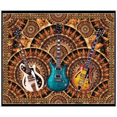 """Dan Morris has done it again with a musical group to get you rocking & rolling. A large 36"""" panel with guitars is striking a chord and picture patches bring fun feature blocks for a quick project. Get nostalgic with the vinyl records and mixed tapes! Your"""