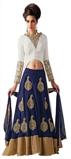 168165 Blue, White and Off White  color family Long Lehenga Choli in Bhagalpuri fabric with Machine Embroidery, Patch, Thread work .