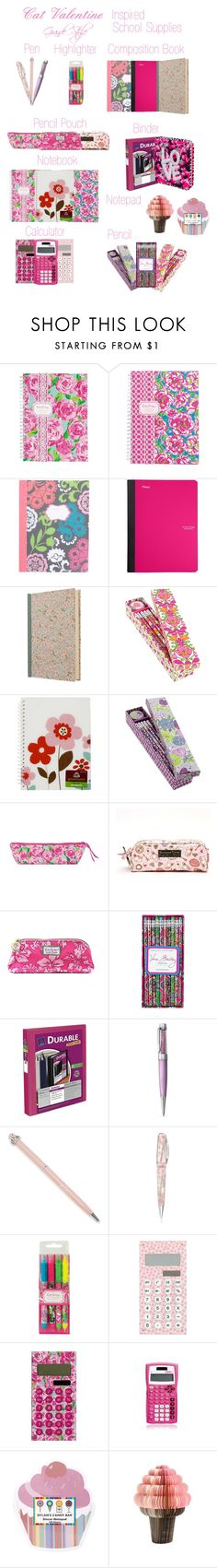 """Cat Inspired School Supplies"" by grandestyleofficial ❤ liked on Polyvore featuring Lilly Pulitzer, Vera Bradley, Avery, Harrods, Visconti, Dylan's Candy Bar, ArianaGrande, CatValentine, Arianator and CatInspired"