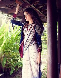 """Really digging this """"Pirate"""" Style jacket on top of saree. More Pictures inside article"""