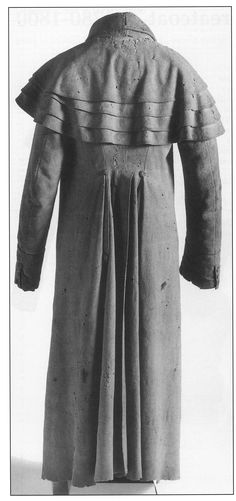"""Man's Greatcoat, c. 1780-1800. Fitting & Proper by Sharon Ann Burnston. There's a great example of this style of greatcoat in the current production of """"Two Gentlemen of Verona"""" by William Shakespeare. Costume design by Dorothy Marshall Englis, The show runs Sept. 16 - Oct. 19. IRT 317-635-5252."""