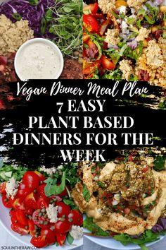 Vegan Dinner Meal Plan: 7 Easy Plant Based Dinners for the Week Easy Vegan Lunch, Vegan Dinner Recipes, Vegan Dinners, Vegan Recipes Easy, Whole Food Recipes, Vegetarian Meals, Clean Recipes, Veggie Recipes, Free Recipes