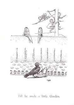 crow garden, gardening vintage children's book illustration