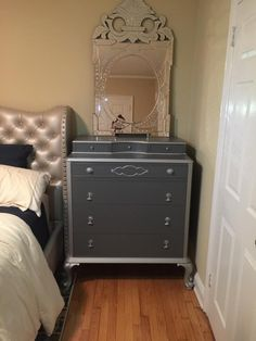 vintage painted dresser, metallic, hollywood regency, custom