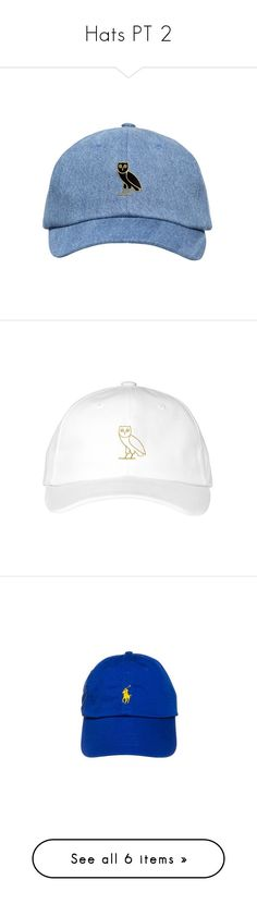 """Hats PT 2"" by onedeeniqqas ❤ liked on Polyvore featuring accessories, hats, fillers, headwear, gold hat, gold caps, cap hats, owl hat, denim hats and polo ralph lauren cap"