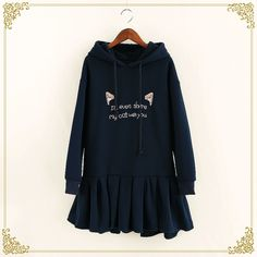 Embroidered Hooded Sweater Dress