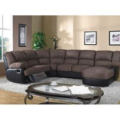 Lazy Boy Sofa  Modern Brown Microfiber Sleeper Reclining Sofa Sectional with Console Living Room Pinterest Furniture Reclining sofa and Brown