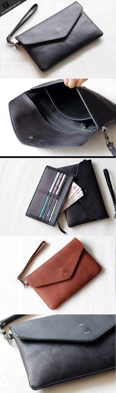 Handmade Genuine leather bifold envelope clutch purse long wallet