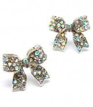 aurora borealis bow post earrings:  at www.jojiboutique.com - always FREE U.S. Shipping