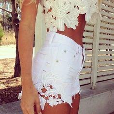 Super cute Lacey, flower cream shirt w high-waisted white shorts