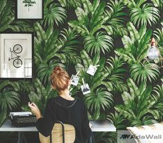 Banana Leaf Wallpaper, Dark Bacground, Removable Wallpaper,Tropical Leaf Patterned Wall Decor, Home Fern Wallpaper, Wallpaper Size, Print Wallpaper, Wallpaper Roll, Pattern Wallpaper, Kids Wall Murals, Green Home Decor, Vinyl Paper, Plant Wall