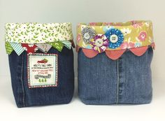 How cute are these catch-all bags made from jean. Moda's Cutting Table blog.
