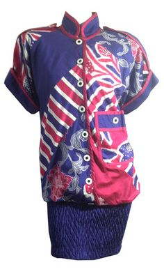 Shocking Pink and Purple Bold Print Blouson Mini Dress circa 1980s Jea - Dorothea's Closet Vintage