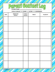 Parent Communication Log...keep track of the parent calls/letters/conferences for each student! www.teachingrocks.ca