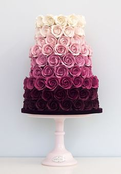 Ombre Rose Wedding Cake This is beautiful. And they got to have it for a wedding… Ombre Rose Wedding Cake This is beautiful. And they got to have it for a wedding cake but it's beautiful Gorgeous Cakes, Pretty Cakes, Cute Cakes, Wedding Cake Roses, Rose Wedding, Purple Wedding, Floral Wedding, Wedding Colors, Easy Wedding Cakes