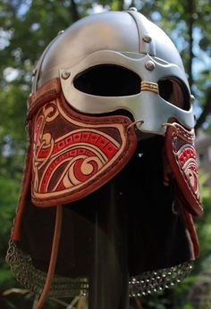 Sweet looking, viking ocular with tooled leather cheek plates