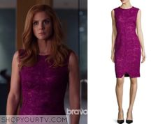 Donna Paulsen (Sarah Rafferty) wears this pink lace shift dress in this week's episode of Suits. Suits Season 5, Mom Outfits, Cute Outfits, Donna Suits, Serie Suits, Pink Dress, Lace Dress, Donna Paulsen, High Class Fashion