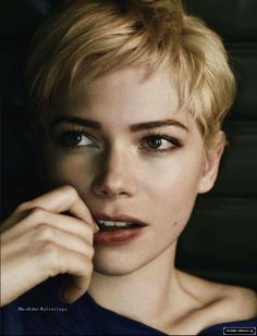 Michelle Williams. Not many people can pull off this haircut. She is just plain beautiful.....