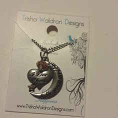 Trisha Waldrop Designs silvertone necklace Says love you o the moon and back with pink ball Trisha waldrop designs Jewelry Necklaces