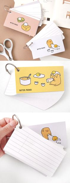 Hey medical students, language learners, parents & kids! Here's a cute 60-sheet index flashcards with a ring binder included to keep you sharp on your study game! How else would you use the adorable and versatile Butter Friends Mini Ring Memo v1?
