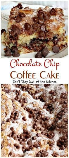 Chocolate Chip Coffee Cake is a moist coffee cake with a streusel layer of chocolate chips, sugar and cinnamon in between layers and on top. Quick & easy.