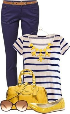Navy pants, Striped navy top, brown belt, yellow bubble necklace & shoes