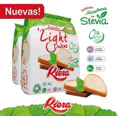 Riera desarrolla las nuevas Tostadas Light Dulces, endulzadas naturalmente con stevia.  Ideales para los que buscan el placer del sabor dulce pero sin las calorías del azúcar! www.riera.com.ar/stevia