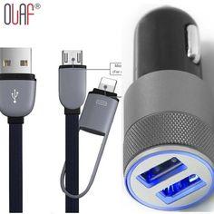 2 포트 3.1A 듀얼 USB 휴대 전화 자동차 충전기 + 2in1 3피트 핀 및 micro usb usb 케이블 iphone 6 plus 5 s 4 s samsung galaxy