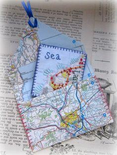 Make envelopes from maps for mail art. Keepsake Tokens from Murgaroyd & Bean www.murgatroydhoots.blogspot.com