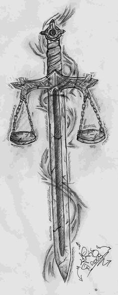 """Résultat de recherche d& pour """"sword with scales of justice tattoo"""" Leg Sleeve Tattoo, Tattoo Sleeve Designs, Back Tattoo, Libra Scale Tattoo, Libra Tattoo, Majin Tattoo, Lawyer Tattoo, Scales Of Justice Tattoo, Places To Get Tattoos"""