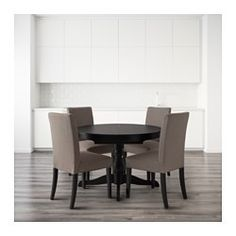 INGATORP / HENRIKSDAL Table and 4 chairs, black, Nolhaga gray-beige - IKEA