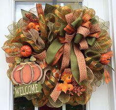Fall mesh wreath, Autumn mesh wreath, fall deco mesh wreath, Autumn pumpkin mesh wreath, pumpkin wreath on Etsy, $70.00