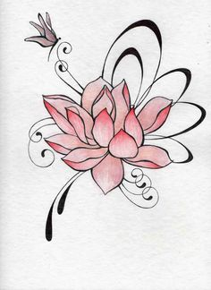 Watercolors and bic on watercolor paper. Tattoo Designs Foot, Tattoo Designs For Women, Lotus Tattoo, I Tattoo, Body Art Tattoos, Tatoos, Flower Tattoos, Flower Art, Lotus Flower