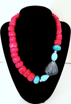 Red Coral,Turquoise and Blue Agate by GlamRox. www.glamrox.com