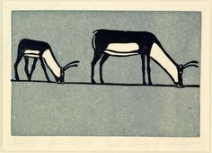 Caribou - 1958 print by Joseph Pootoogook. Inuit Art | Winnipeg Art Gallery