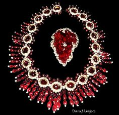 Imelda Marcos ruby necklace with diamonds, from Van Cleef & Arpels & a brooch of raw rubies clusters surrounded by diamonds.