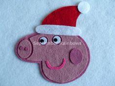 Christmas Peppa pig felt patch
