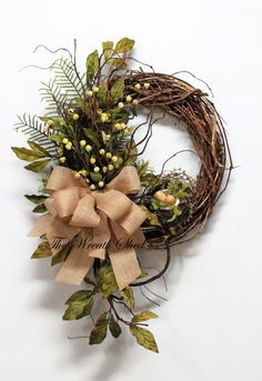 Fall Wreath Front Door Wreath Fall Greenery by TheWreathShed