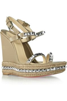 Christian Louboutin Cataclou 140 Studded Leather Wedge Sandals in Beige (taupe) | Lyst