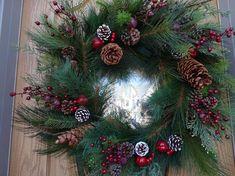 Large Christmas Wreath, Green Christmas, Holiday Wreaths, Christmas Gifts, Christmas Decorations, Twig Wreath, Berry Wreath, Indoor Wreath, Jingle Bell